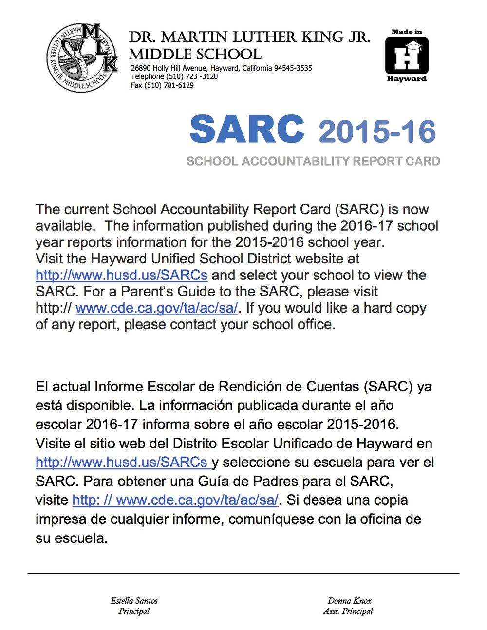 SARC Notification for Parents
